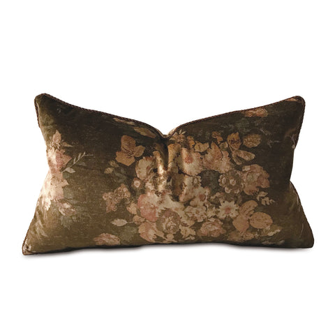 "Shabby Chic Brown Velvet Lumbar Pillow Cover with Cord 15""x26"""