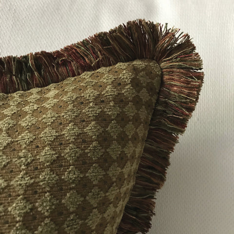 "Olive Green Textured Woven Lumbar Pillow Cover 15""x26"""