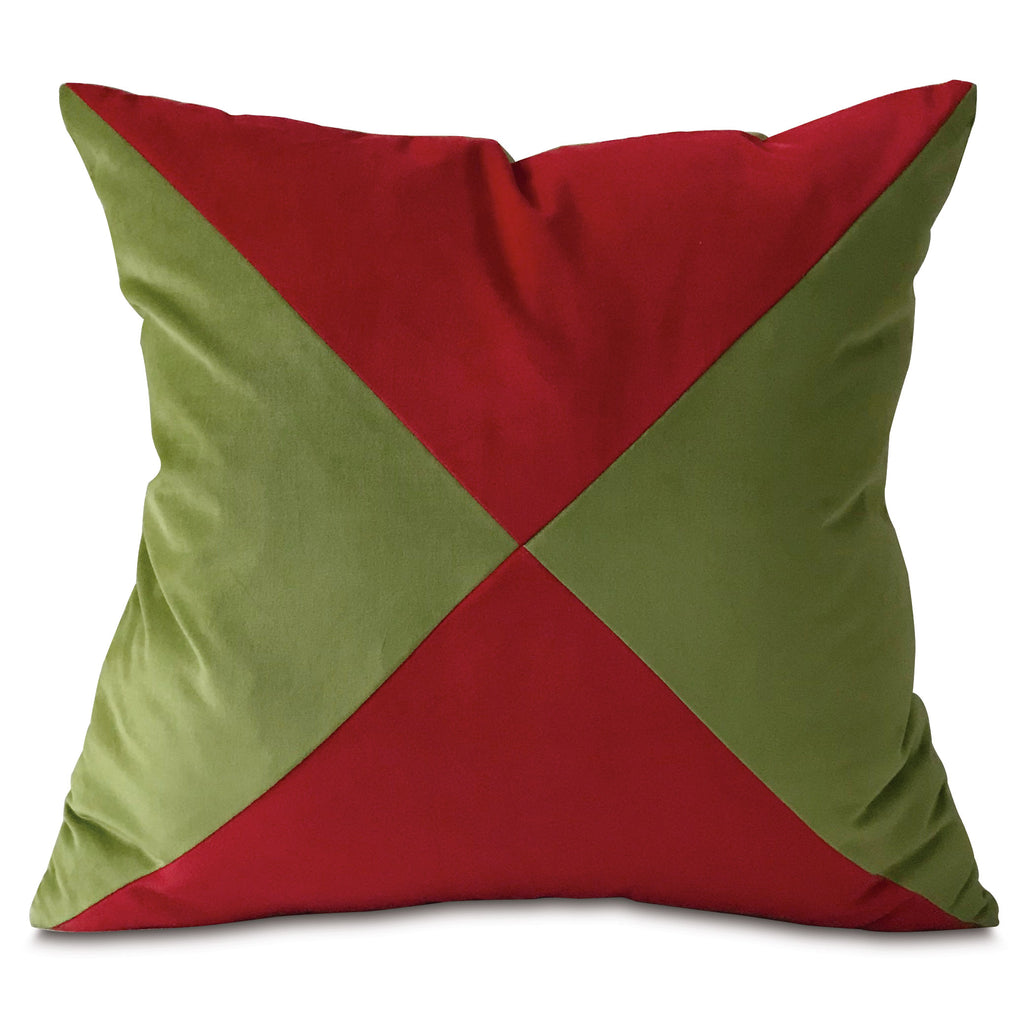 "Green and Red Velvet Throw Pillow Cover 22""x22"""