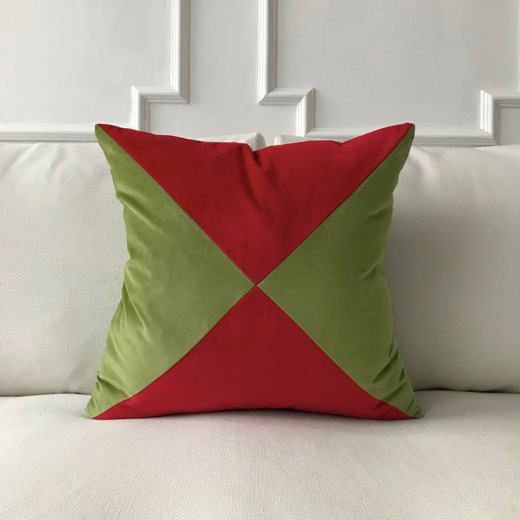 Green And Red Velvet Throw Pillow Cover 22 X22 Plankroad Home Outlet