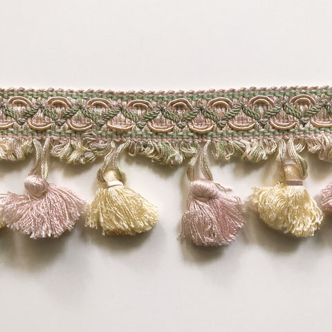 Blush Pink and Yellow High Quality Decorative Tassel Trim by the yard
