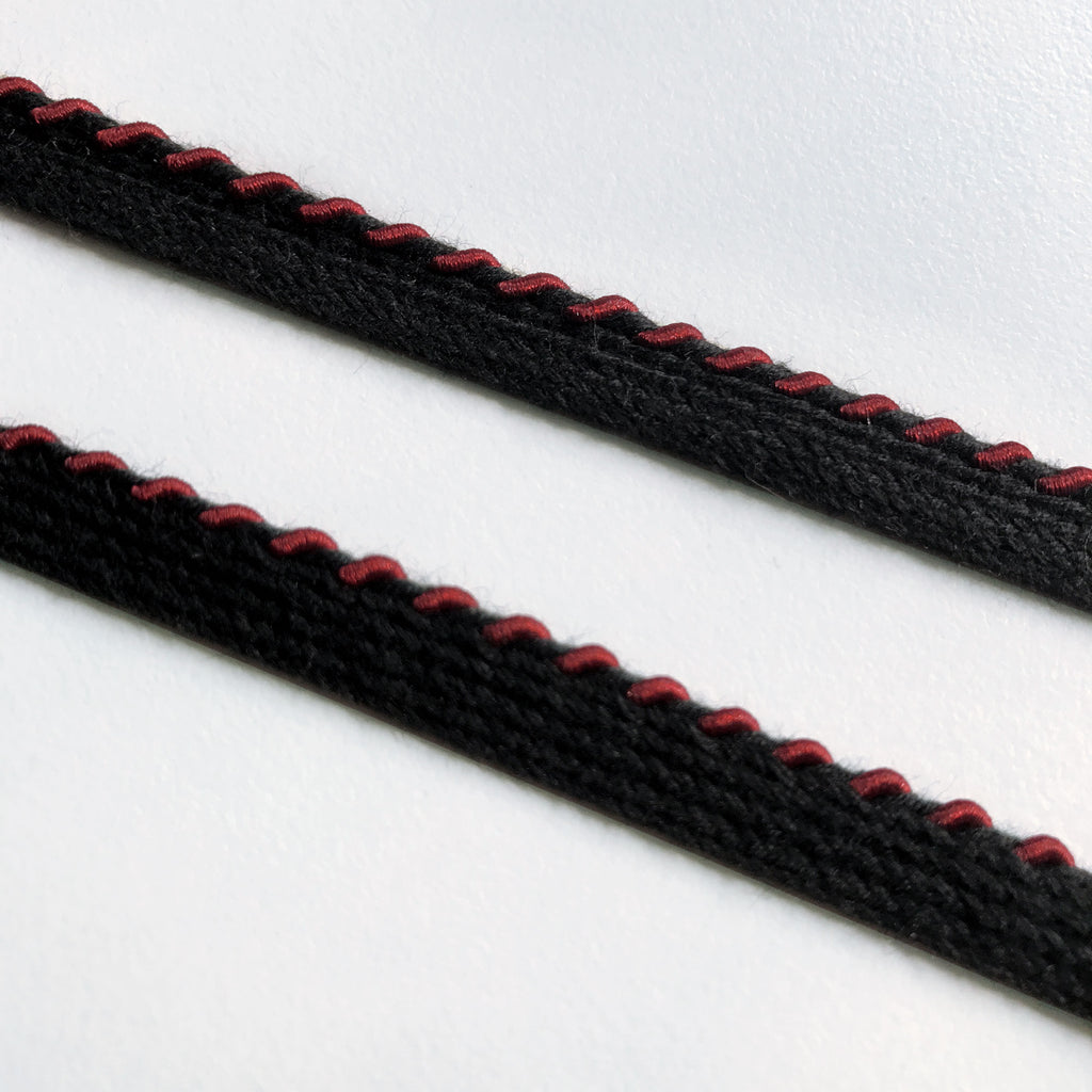 Burgundy and  Black High Quality Decorative Lip Cord Trim by the yard