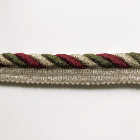 Maroon and Moss Green High Quality Decorative Lip Cord Trim by the yard