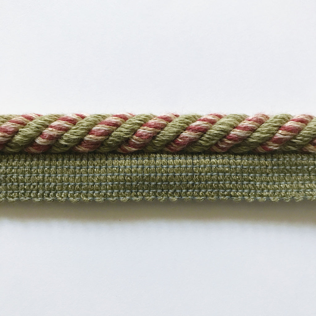 Olive Green and Salmon High Quality Decorative Lip Cord Trim by the yard