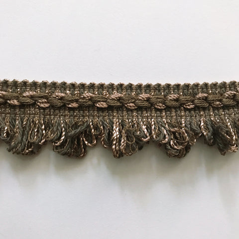 Brown and Forest Green High Quality Decorative Loop Fringe Trim by the yard