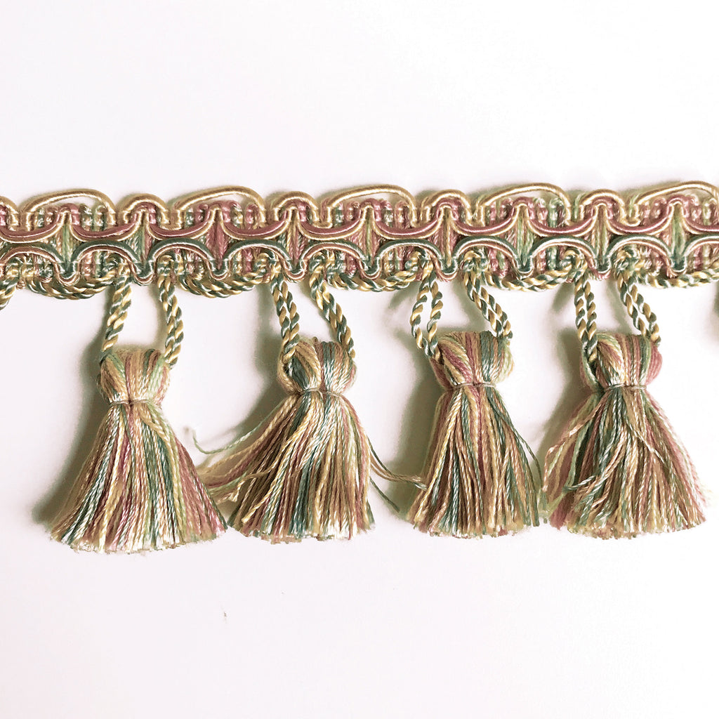 Lime and Salmon High Quality Decorative Tassel Trim by the yard