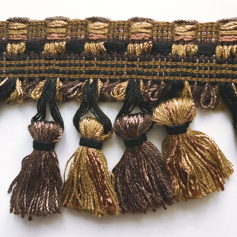 Dark Brown and Gold High Quality Decorative Tassel Trim by the yard