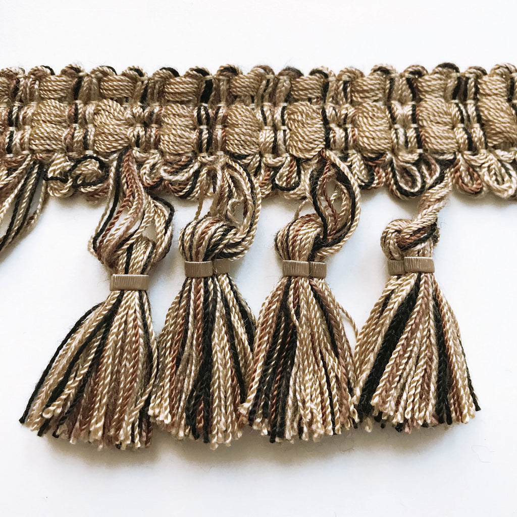 Tan and Black High Quality Decorative Tassel Trim by the yard