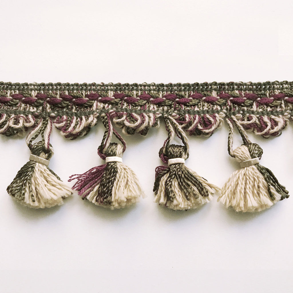 Moss Green and Purple High Quality Decorative Tassel Trim by the yard