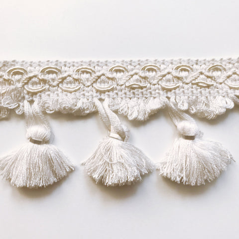White High Quality Decorative Tassel Trim by the yard