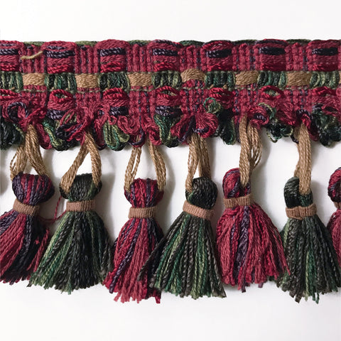 Burgundy and Forest Green High Quality Decorative Tassel Trim by the yard