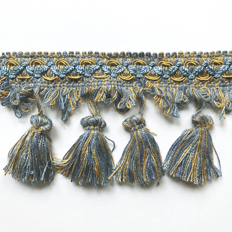 Blue and Gold High Quality Decorative Tassel Trim by the yard
