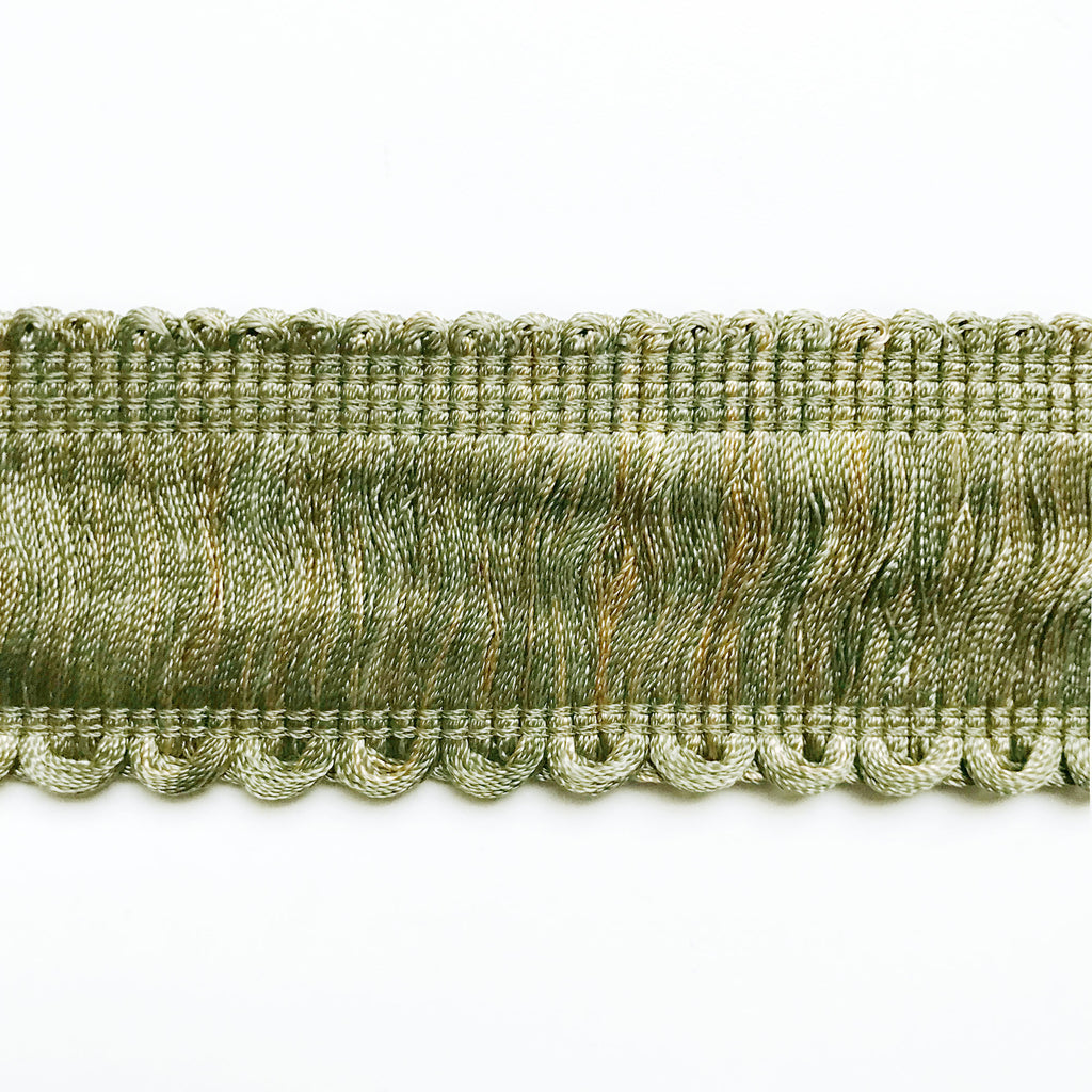 Sage and Tan High Quality Decorative Brush Fringe Trim by the yard