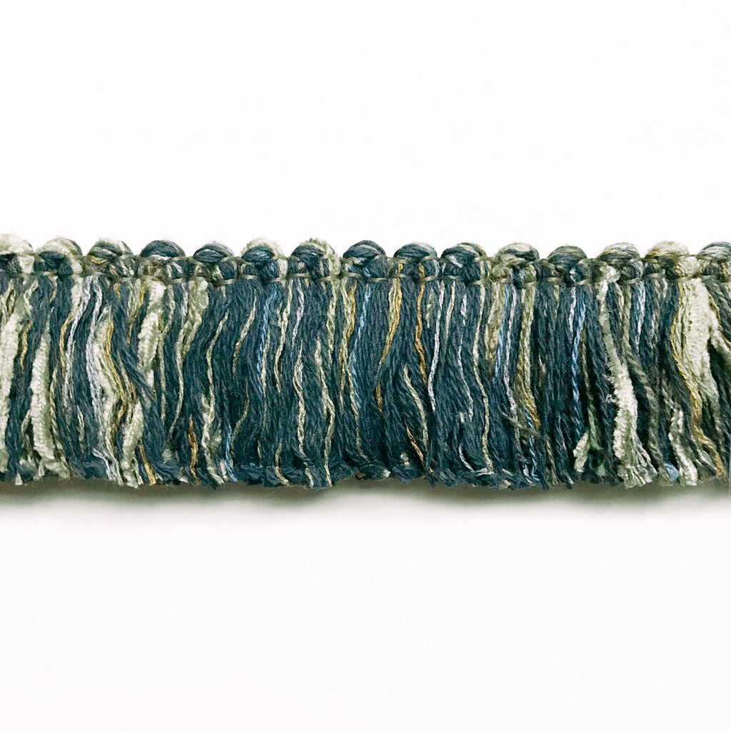 Light Gray and Blue High Quality Decorative Brush Fringe Trim by the yard