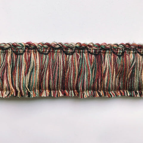 Maroon and Emerald Green High Quality Decorative Brush Fringe Trim by the yard