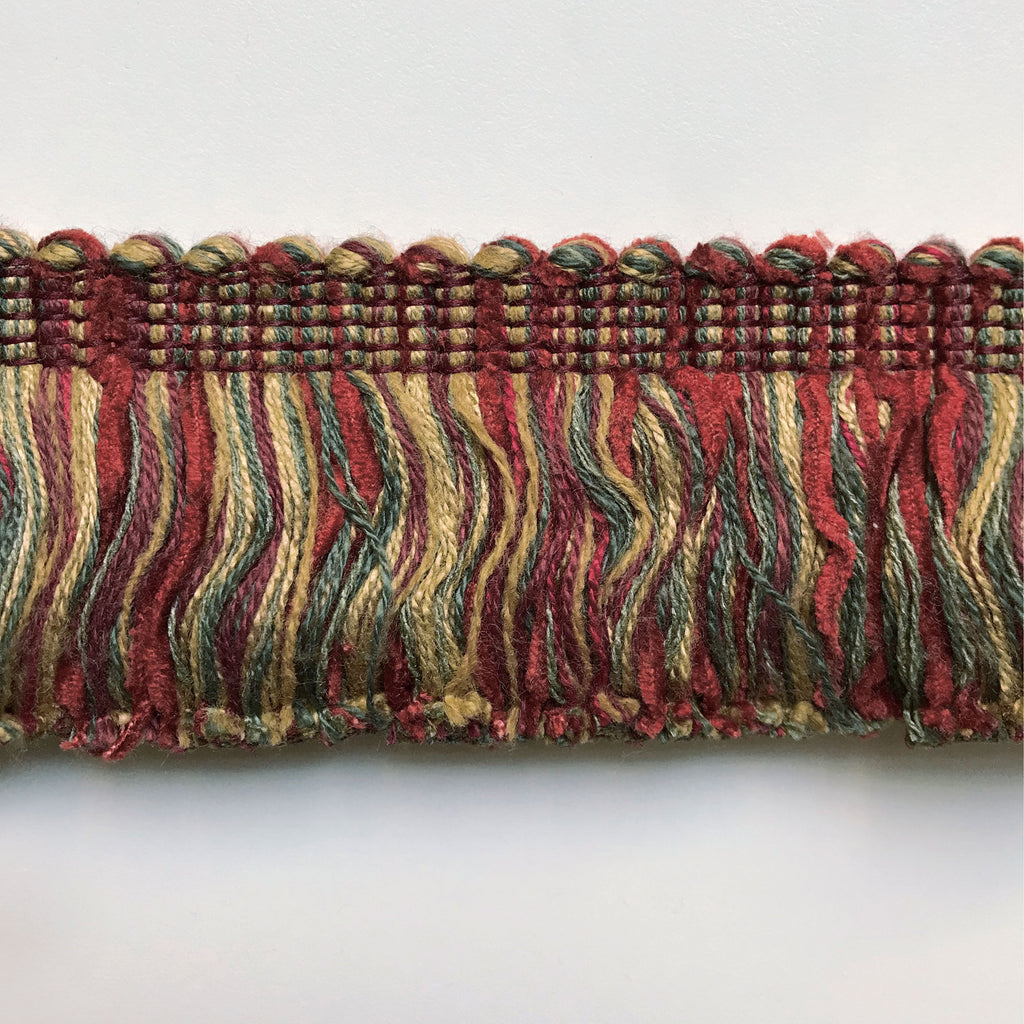 Scarlet and Olive Green High Quality Decorative Brush Fringe Trim by the yard