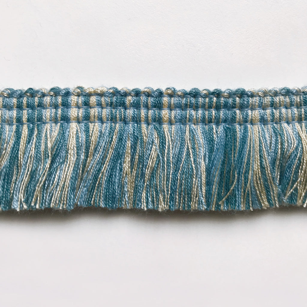 Cyan and Ivory High Quality Decorative Brush Fringe Trim by the yard