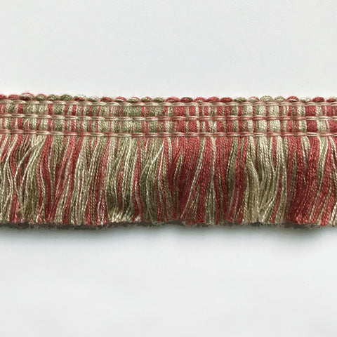 Khaki and Coral High Quality Decorative Brush Fringe Trim by the yard