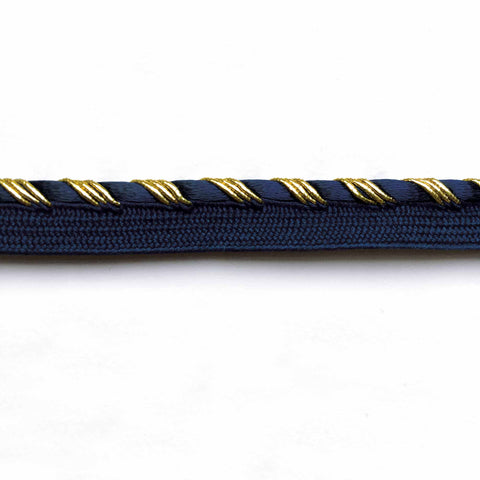 Gold and Indigo High Quality Decorative Lip Cord Trim by the yard