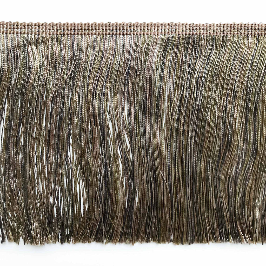 Olive Green and Tan High Quality Decorative Brush Fringe Trim by the yard