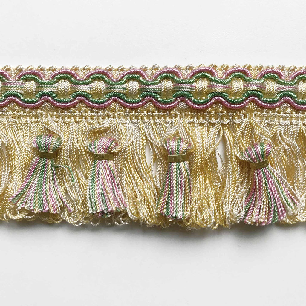 Light Yellow and Blush Pink High Quality Decorative Tassel Trim by the yard