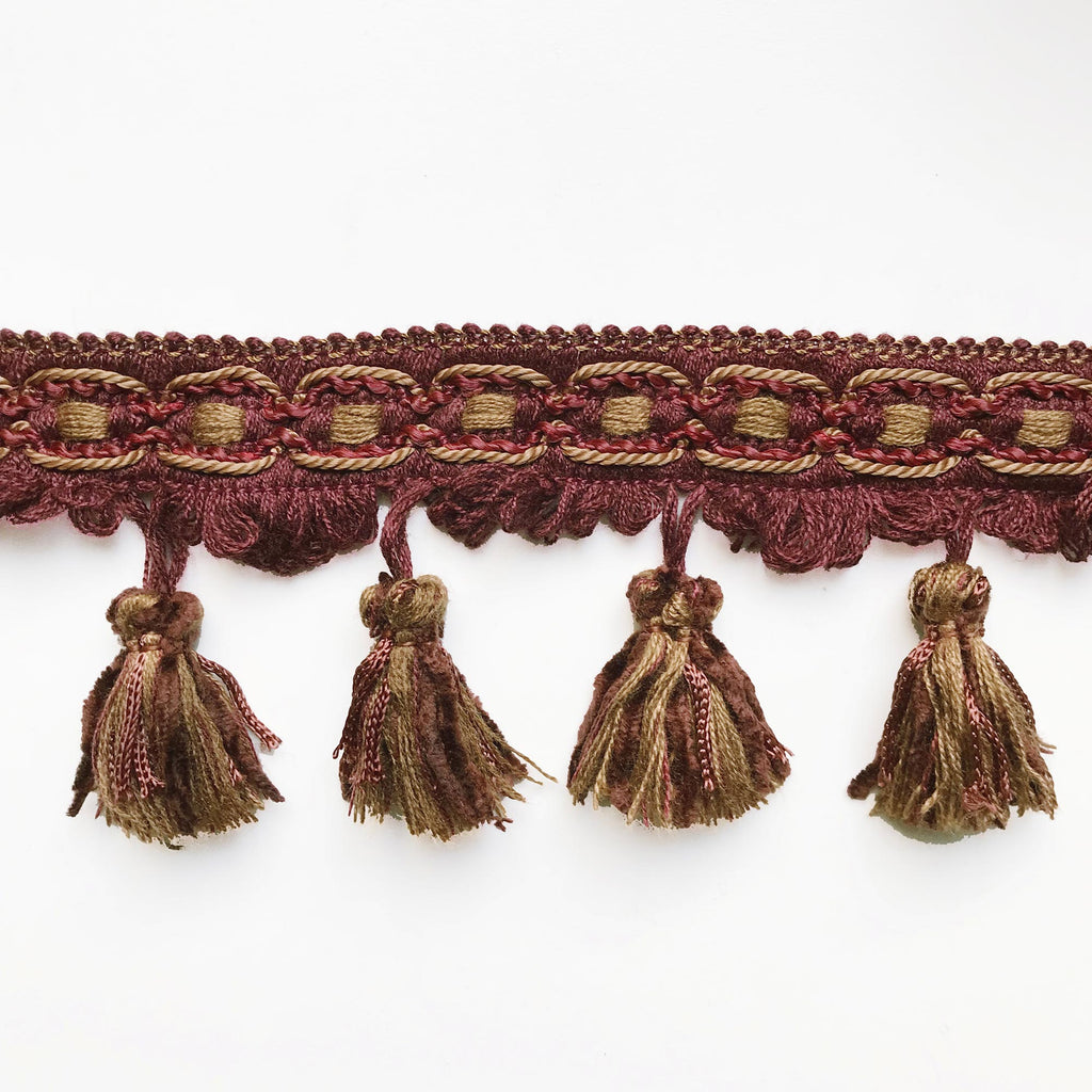 Burgundy and Brown High Quality Decorative Tassel Trim by the yard