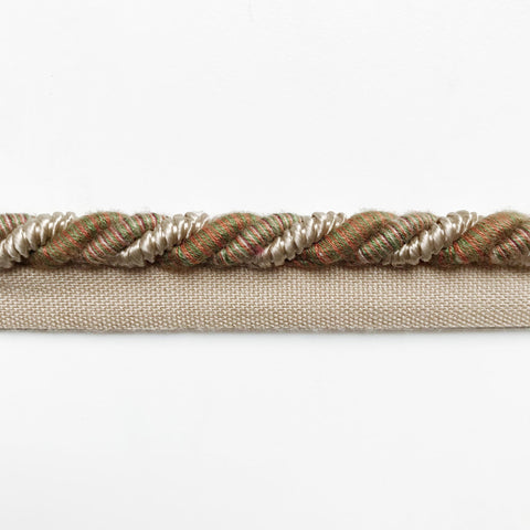 Tan and Green High Quality Decorative Lip Cord Trim by the yard