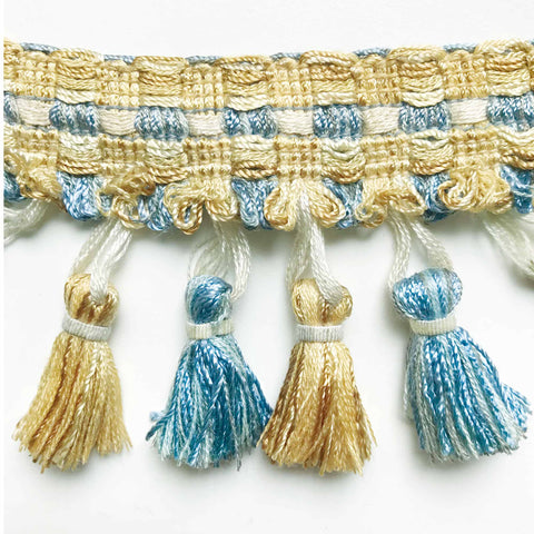 Gold and Azure High Quality Decorative Tassel Trim by the yard