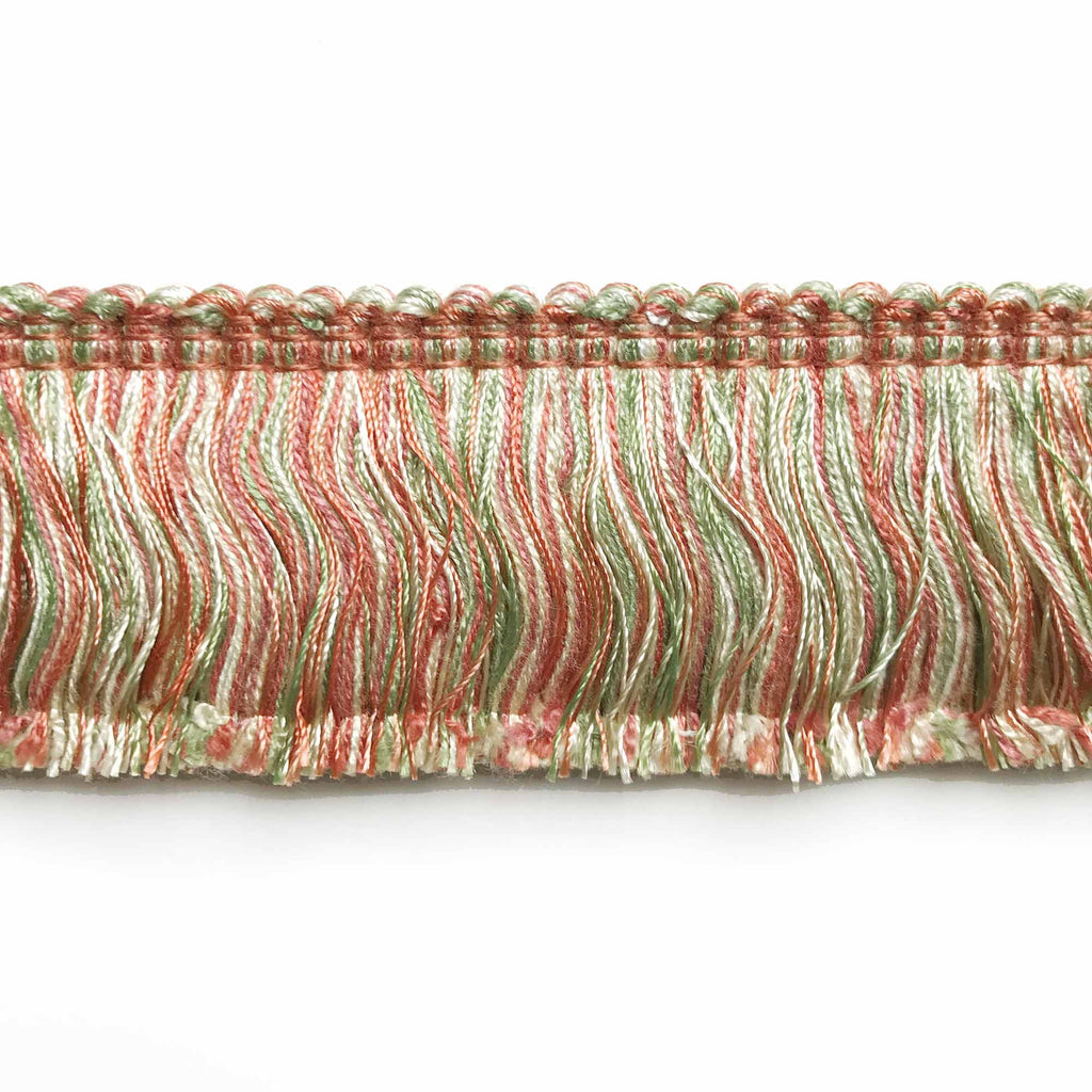 Lime and Salmon High Quality Decorative Brush Fringe Trim by the yard