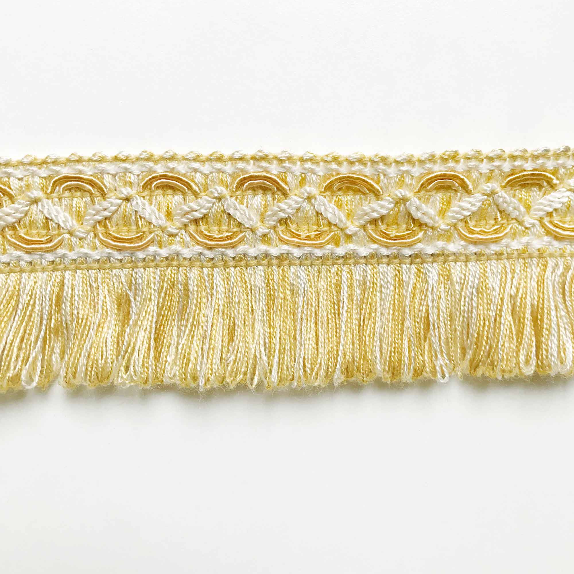 Yellow Blue Green and White Brushed Fringe Trim BY THE YARD Pink