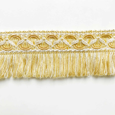 Yellow and White High Quality Decorative Brush Fringe Trim by the yard