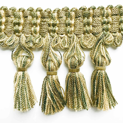 Olive Green and Yellow High Quality Decorative Tassel Trim by the yard