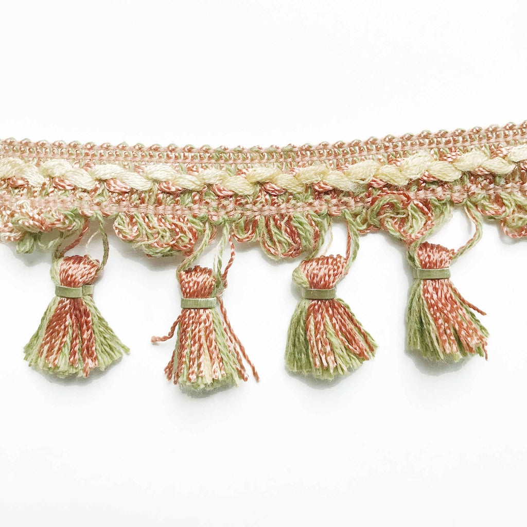 Salmon and Moss Green High Quality Decorative Tassel Trim by the yard