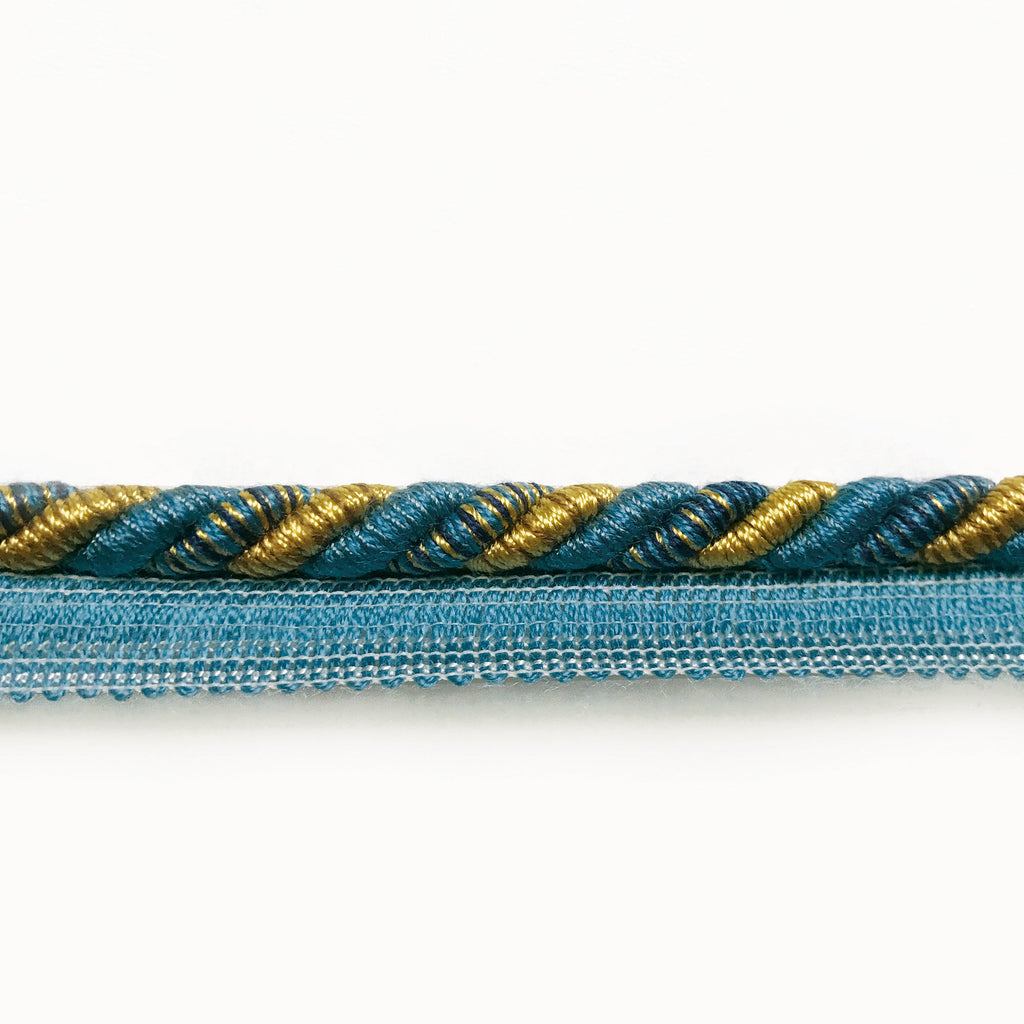 Azure and Yellow High Quality Decorative Lip Cord Trim by the yard