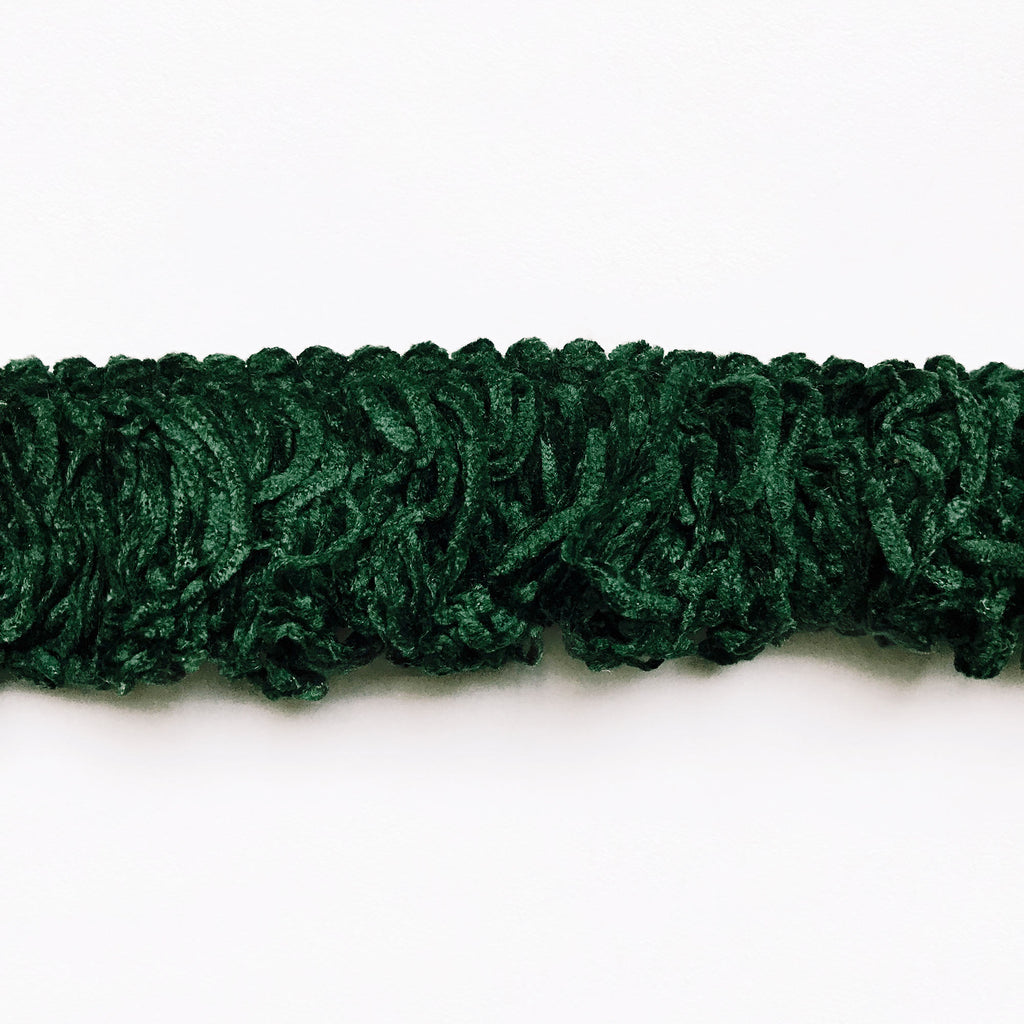 Dark Green High Quality Decorative Brush Fringe Trim by the yard