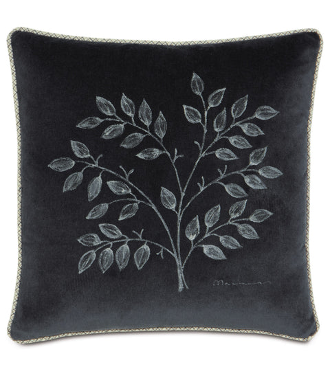 "Charcoal Black Hand Painted Floral Throw Pillow Cover 18"" x 18"""