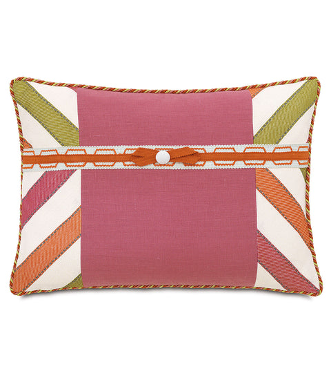 "Carolina Ribbon Trim Decorative Pillow Cover 16"" x 22"""