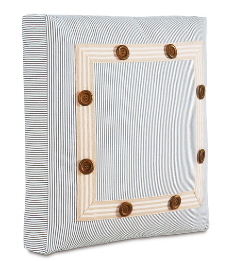 "Austin Boxed Pinstripe Decorative Pillow 18"" x 18"" x 2"""