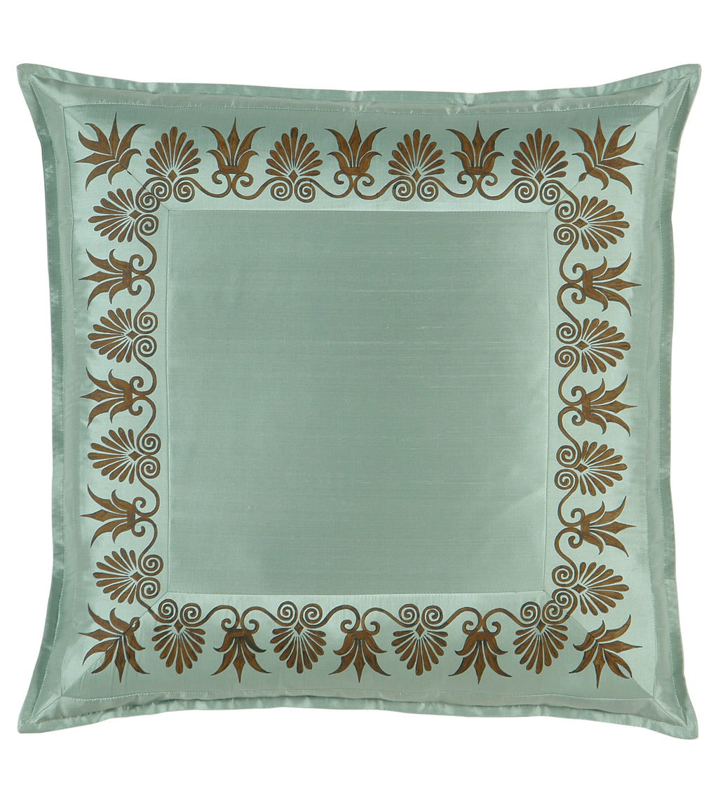 "27"" x 27"" Anthemion Handpainted Teal Silk Euro Sham Pillow Cover"