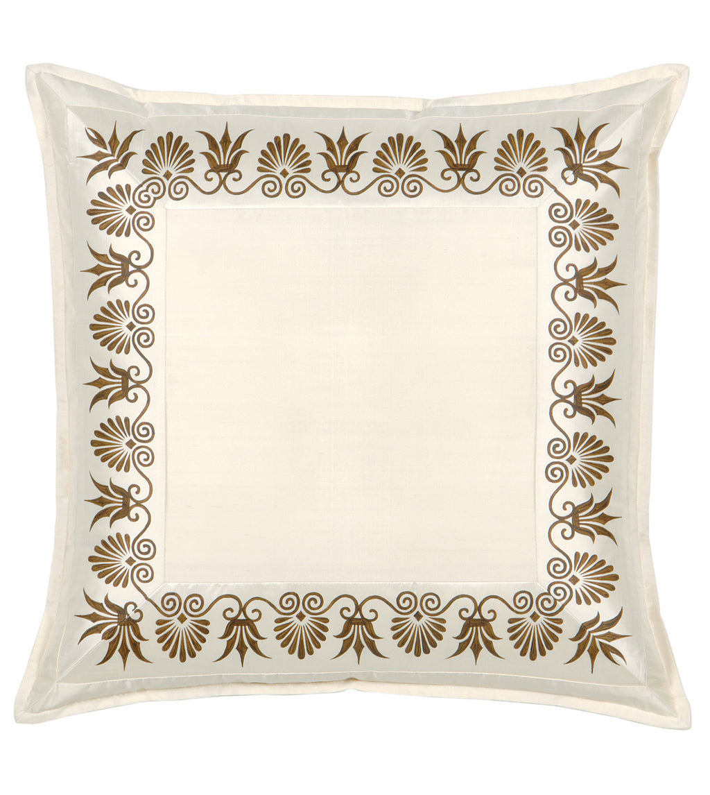 "27"" x 27"" Anthemion Handpainted Ivory Silk Euro Sham Pillow Cover"