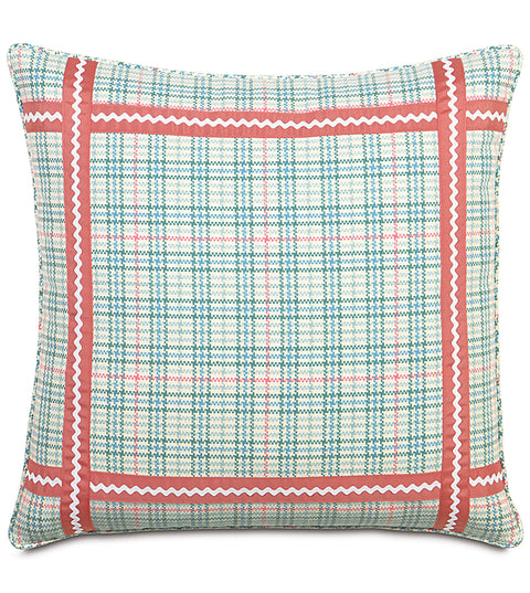 "Pixie Blue Plaid Decorative Euro Sham Cover 27""x27"""