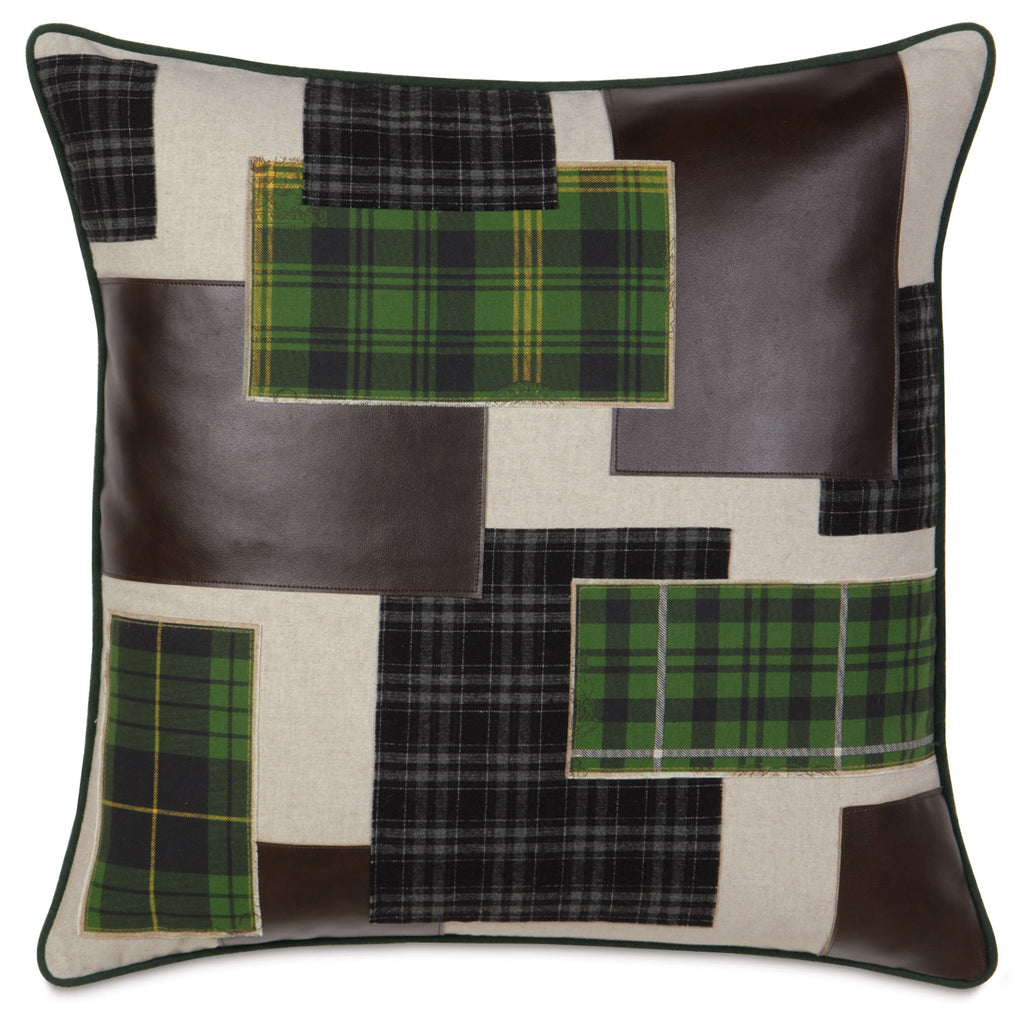 "27"" x 27"" Plaid Patchwork Euro Pillow Cover"