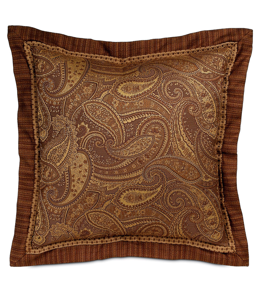 "27"" x 27"" Brown Woven Paisley Euro Sham Cover"