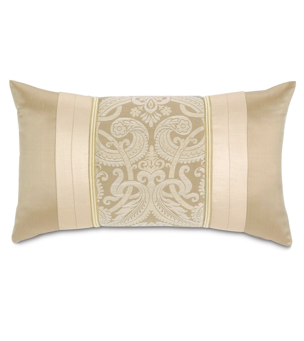 "15""x26"" Evora Ivory Damask Decorative Pillow Cover"