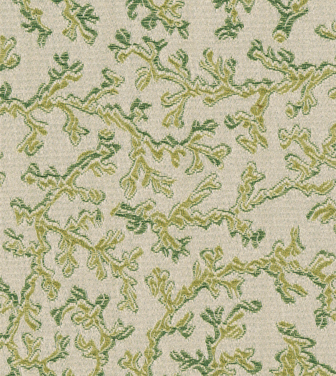 Green Botanical Brocade Upholstery Fabric