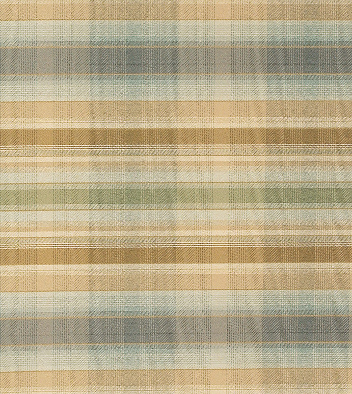 Pale Pastel Plaid Upholstery Fabric with Hues of Gold, Baby Blue, Beige, Orange, and Pea Green