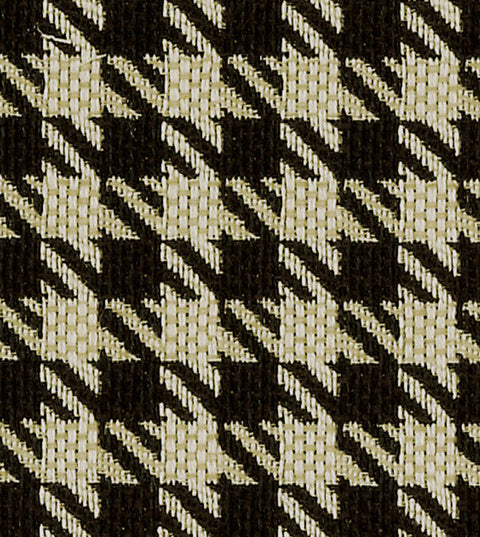 Black Ivory Houndstooth Check Upholstery Fabric