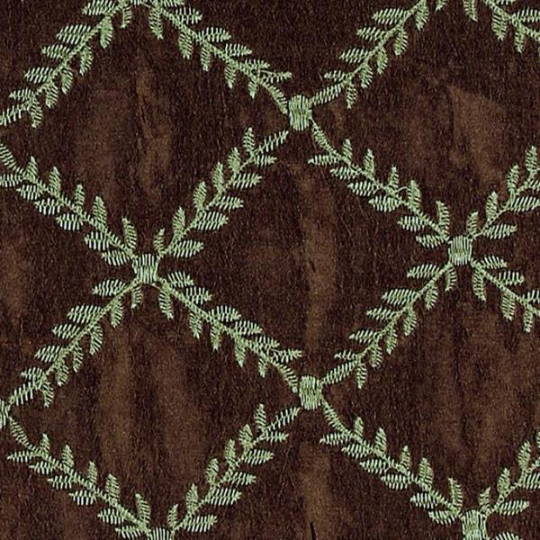 Botanical green vine embroidery on brown faux silk upholstery fabric