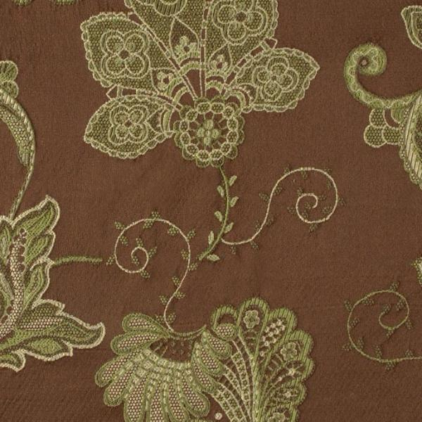 Pastel Green Floral Vine Brocade on Brown Upholstery Fabric