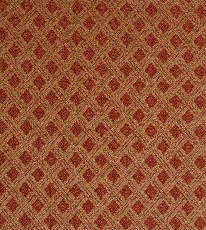 Red Gold Diamond Jacquard Pattern Upholstery Fabric Plankroad Home